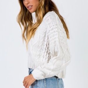 Princess Poly Cropped Cable Knit Sweater